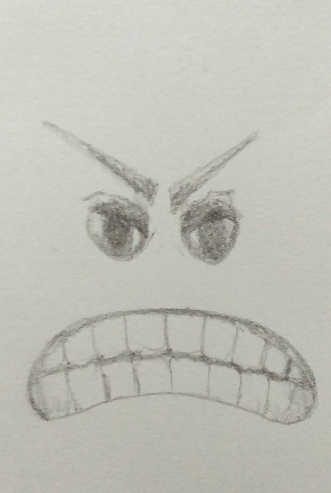 pencil drawing gritted teeth