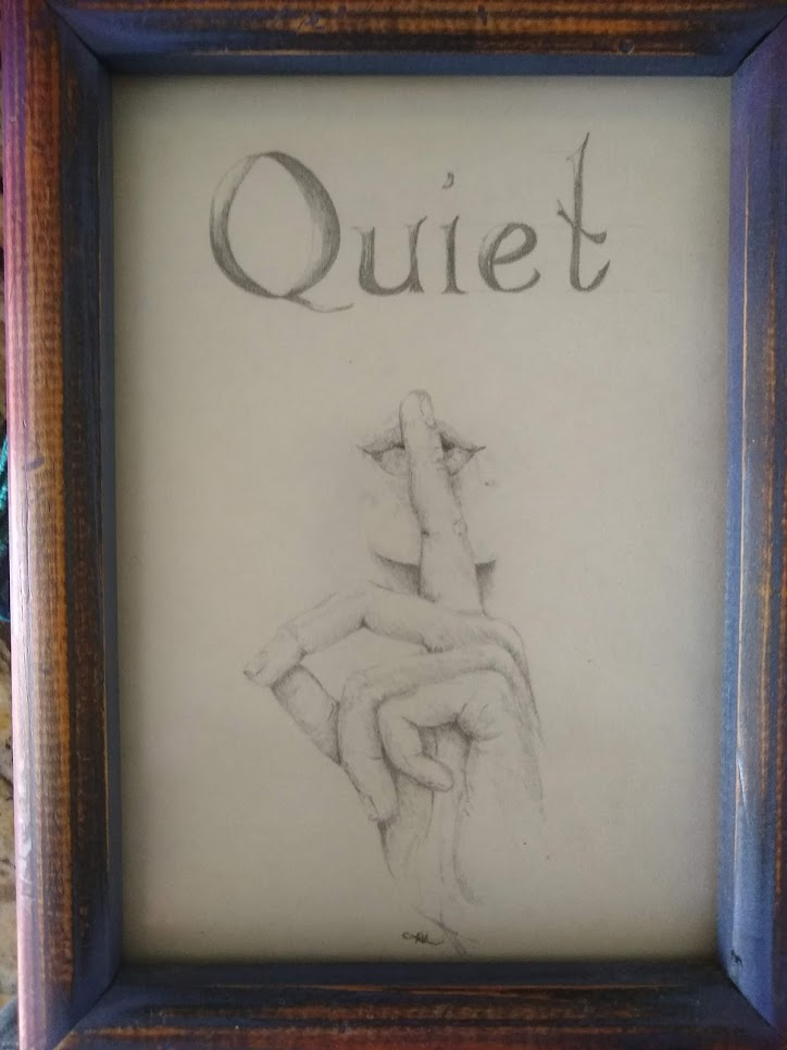 drawing of shushing woman