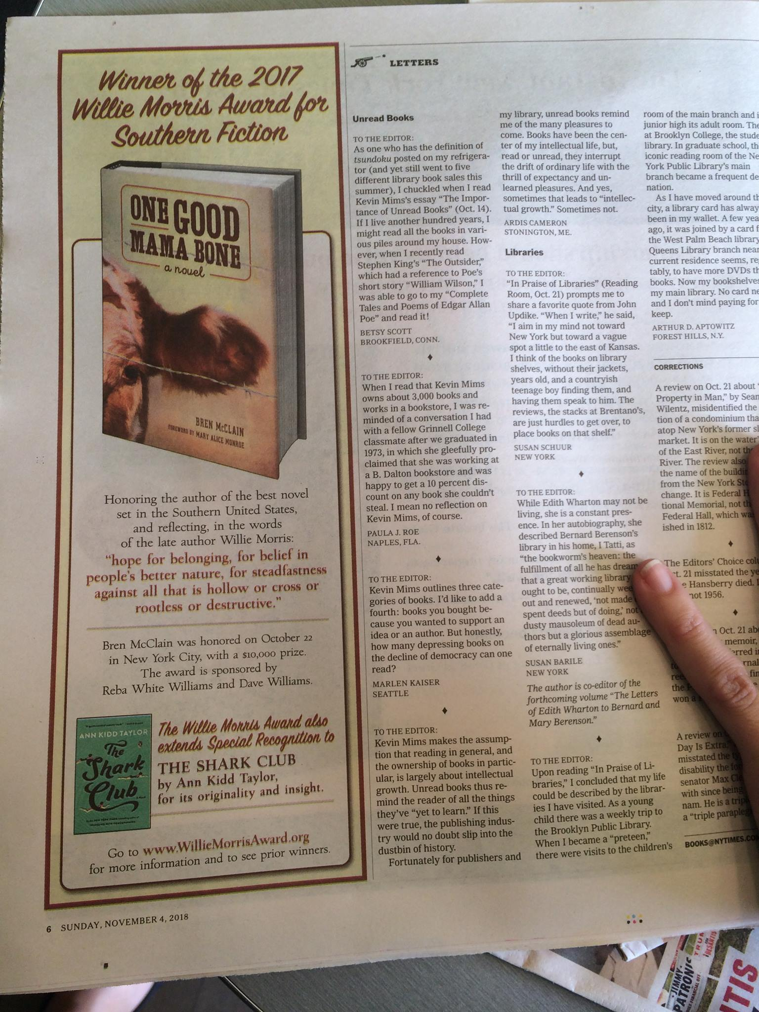 new york times book award advertisement